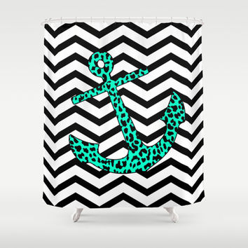 Mint Leopard Chevron Anchor Shower Curtain by M Studio