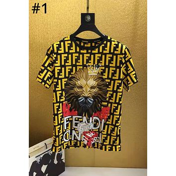 Fendi 2019 new double F lion head print casual round neck personality short-sleeved T-shirt #1