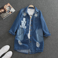 S-8XL Plus Size Korean Women BF Jeans Jackets 2017 Spring Autumn Denim Middle Long Loose Coat Ripped For Women Clothing A1096