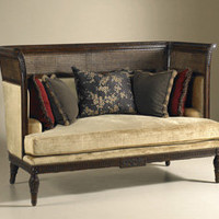 Italian Walnut Finished Sofa with Rattan Caning and Topaz Velvet Upholstery by Maitland-Smith - The Online Furniture Store