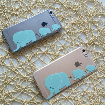 Three baby elephant phone case for iphone 6 6s 6 plus 6s plus + Nice gift box 080902
