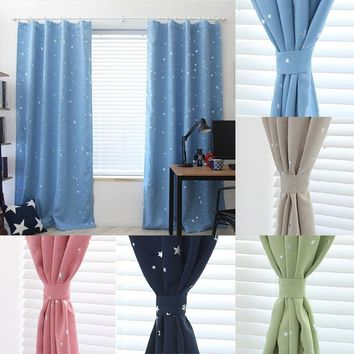 100cm x130cm/100cm x250cm Star Kids Child Bedroom curtains with 5 colors Blackout Thermal Solid Window Curtain For Living room D