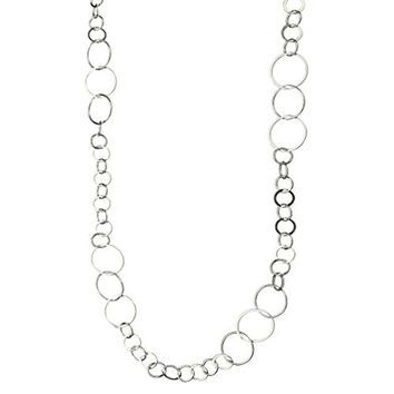 Sterling Silver Flat, Round Circle Links Long Necklace Italy, 36""