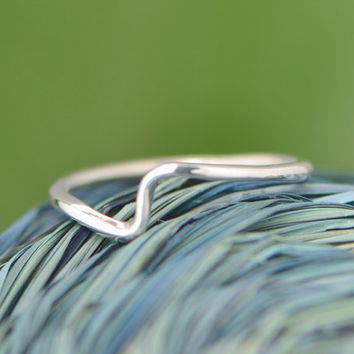 Christmas In July Wave Ring - Stacker Ring - Thumb Ring - Argentium Sterling Silver - Silver Ring - Handmade Ring