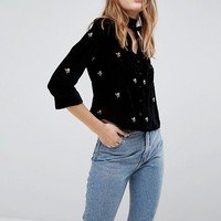 New Look Embroidered Velvet Pj Shirt at asos.com
