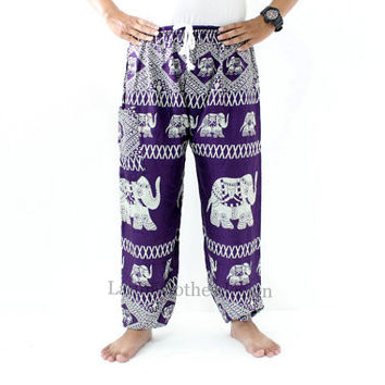 Harem Unisex pants Elephant Purple grey Elastic around ankles One side pocket Boho Printed design Elastic Rope waist Comfy Pants.