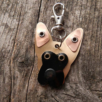 Keychain ID Key Chain Tag Belgian Malinois Dog Breed Dog Pet Lover Mixed Metals Custom Rivets Stamped