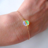 Rough Opal and 14/20 Rose Gold; 14k Gold Fill; 925 Sterling Silver; Oxidized Sterling Silver Chain Charm Bracelet