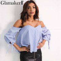 Glamaker Sexy plaid off shoulder blouse shirt Spring striped backless women tops Slim elegant beach blouse blusas