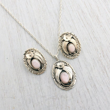 Vintage Sterling Silver Pink Mother of Pearl Necklace Earring Set - 1970s Retro Tribal Native American Style Jewelry / Flower Leaf Motif