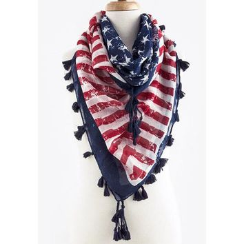 Vintage American Flag Square Scarf with Tassel
