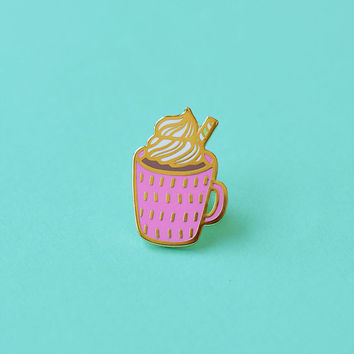 Hot Cocoa Enamel Pin, Christmas Pin, Stocking Stuffers, Pin Flair, Lapel Pin, Pin Badge, Chocolate Pin, Coffee Pin