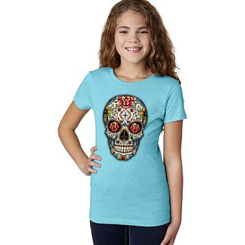 Girls Halloween T-shirt Sugar Skull with Roses