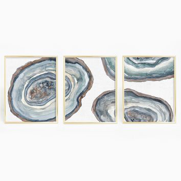 Agate Mineral Slices Painting Triptych Wall Art Print
