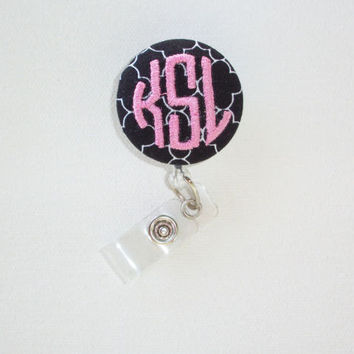 Retractable ID Badge Holder Reel  - Fabric Button -  black quatrefoil with monogram 3 circle  initial custom