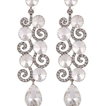 White Crystal and Stone Statement Stud Drop Earrings