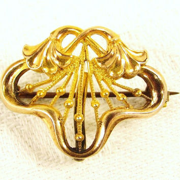 Gold Filled Watch Pin - Filigree Scroll Floral Signed