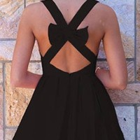 Sexy Black Vintage Back Bow Cut Out Mini Dress Sleeveless Zip Back Closure