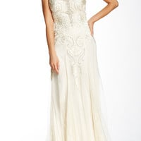 Sue Wong Ivory Embroidered Mesh Wedding Gown