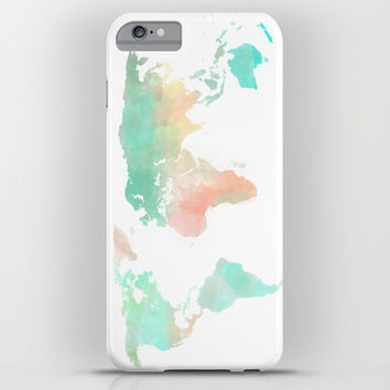 Watercolor World Map iPhone & iPod Case by Sunkissed Laughter