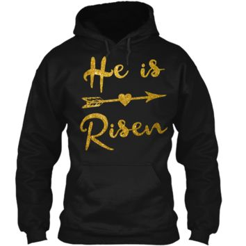 He is Risen Shirt Christian Graphic T-Shirt Faith Easter Tee Pullover Hoodie 8 oz