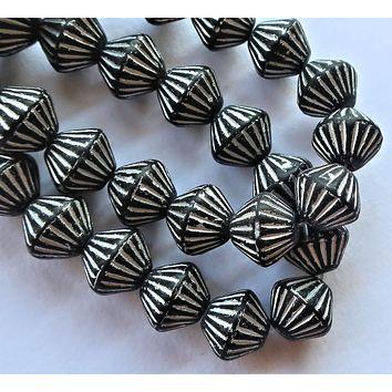 Five 11mm x 10mm Matte Black bicone with silver accents, carved, chunky, rustic, African look pressed glass Czech beads, C0601