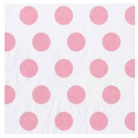 Ideal Home Range 20 Count Paper Cocktail Napkins, Big Dots White and Soft Pink
