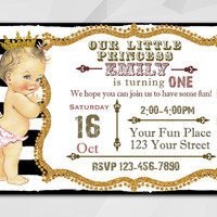 1st Birthday invitation, Vintage Baby Doll, Antique Birthday, Vintage Girl black stripe invitation, etsy invitation C029-4