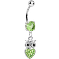 Light Green Gem and Paved Heart For the Love of Owls Dangle Belly Ring | Body Candy Body Jewelry