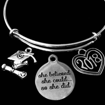 She Believed She Could Diploma Graduation Jewelry Cap 2018 Adjustable Bracelet Silver Expandable Charm Bangle Trendy Gift