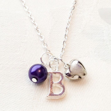 Custom Necklace Initial Letter Necklace Bridesmaid Necklace Bridesmaid Jewelry Purple Necklace Heart Necklace Wedding