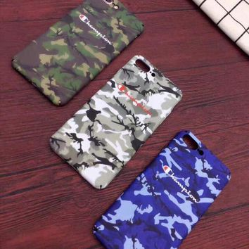 Supreme x champion new 2017 case camouflage pattern arm hard plastic for iphone