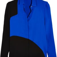 Versace - Two-tone silk-georgette shirt