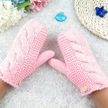 Hot Women Winter Dpuble Layer Thick Cashmere Wool Adult Warm Knit Twist Full Finger Gloves Soft Lady Fur Mittens With Long Rope