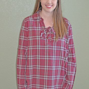 Brick House Lace Up Plaid Top