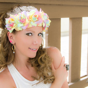 Pastel Rainbow Rose Flower Crown, Flower Halo, Flower Headband, Pride Headband, Lolita Hair Accessories, Coachella, Burning Man, Wanderlust