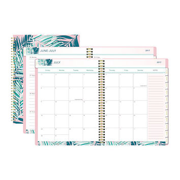 """Divoga® Global Citizens Academic Weekly/Monthly Planner, 11"""" x 8"""", Green/Pink, July 2017 to June 2018 Item # 973349"""