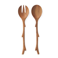 Teak Twig Salad Server Set