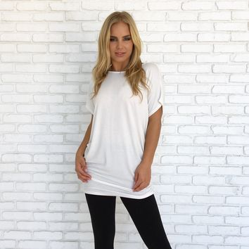 Simply Crossed Jersey Tunic in White