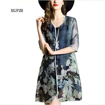 XSJPZH Elegant Retro Summer Style New Ladies Solid Silk Trench Coat Women Half Sleeve Vintage Floral Cardigan Plus Size Yc272