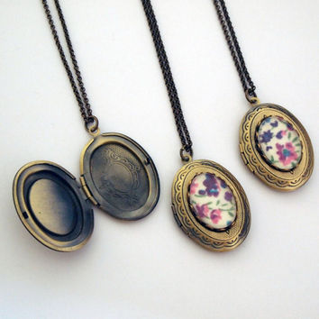 Bridesmaid gifts Set of 3 Floral Brass Cameo by glamasaurus