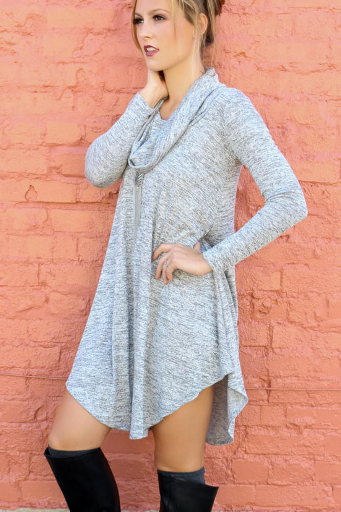 Lunar Love Heather Gray Cowl Neck Sweater from Amazing Lace
