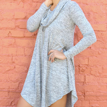 Lunar Love Heather Gray Cowl Neck Sweater Dress With Long Sleeves