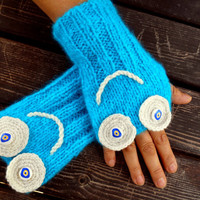 Blue Gloves, Mittens Knitting,Crochet Gloves, Hand Warmer, Winter Gloves,Women Gloves,Gloves Smiling,Arm Warmers,Gift Ideas, Jasminejasmine,