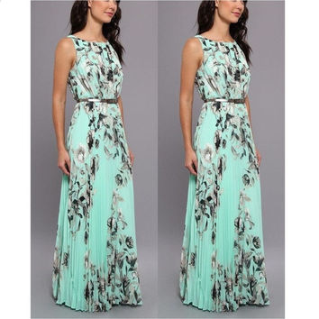 Women Fashion Summer Sexy Elegant Sleeveless Floral Print Slim Waist Evening Prom Ball Gown Long Maxi Dress = 1955653188