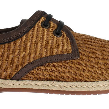 Dolce & Gabbana Brown Woven Raffia Leather Laceup Shoes
