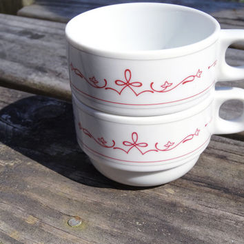 Vintage Cups (2) Rego China Minimalist Nature Pattern in Red and White Stackable