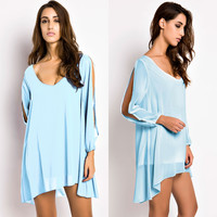 Light Blue Cut Out Long Sleeve Mini Dress