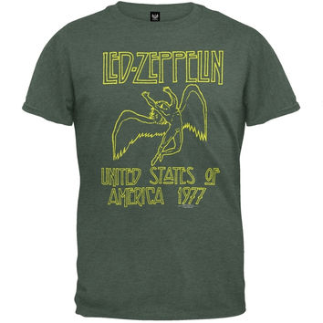 Led Zeppelin - 1977 Sage Green Soft T-Shirt