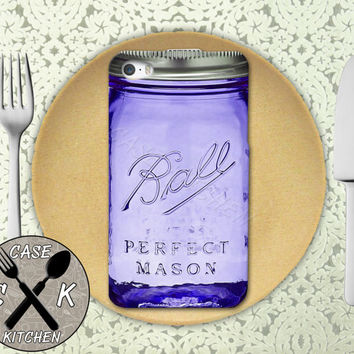 Mason Jar Ball Inspired Purple Cute Canning Glass Custom Rubber Tough Phone Case For The iPhone 4 and 4s and iPhone 5 and 5s and 5c